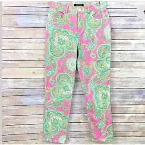 Ralph Lauren Ankle Pants Pink Paisley Print Size 4